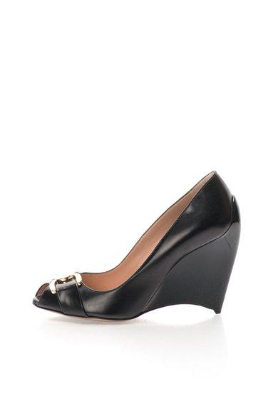 Pantofi wedge negri din piele Meridienne Furla