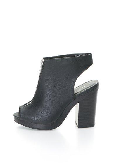 New Look Botine peep-toe negre cu toc masiv