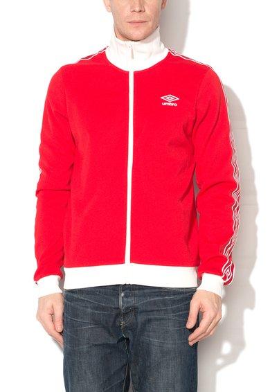 Bluza sport rosu cu alb cu fermoar si logo