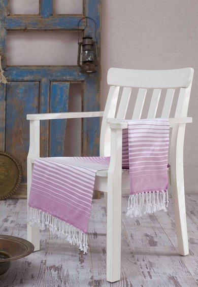 Prosop fouta lila cu alb in dungi de la Leunelle