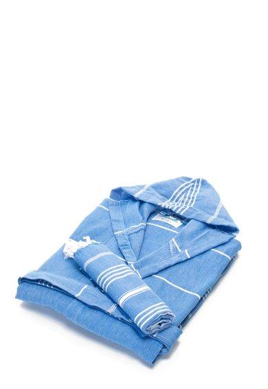 Set de halat de baie si prosop bleu Sultan de la Leunelle