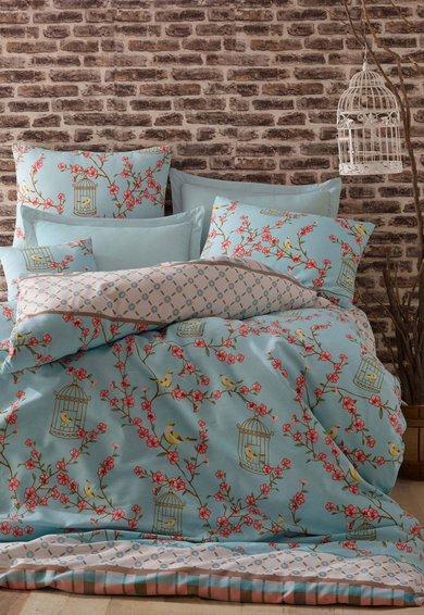 Set de pat turcoaz cu imprimeu multicolor Birdcage