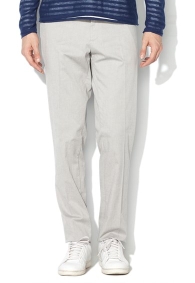 Pantaloni conici slim fit gri deschis