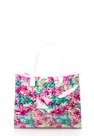 Geanta de plaja multicolora cu imprimeu floral