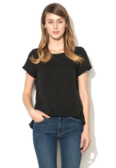 French Connection Bluza neagra din material mixte cu garnituri striate Polly