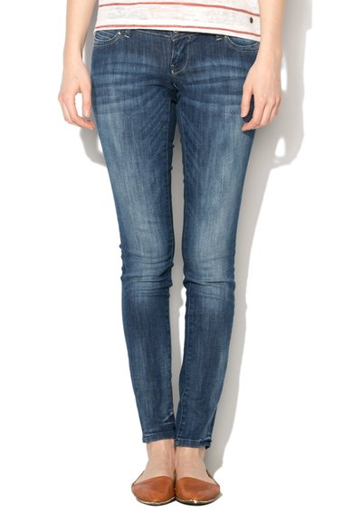 Jeansi skinny albastri cu talie foarte joasa Coral de la Only