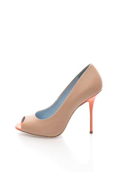 Pantofi cu varf decupat bej cu corai din piele