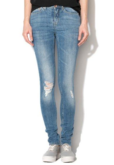 Jeansi skinny albastri cu aspect deteriorat Bright Charm de la Blend She