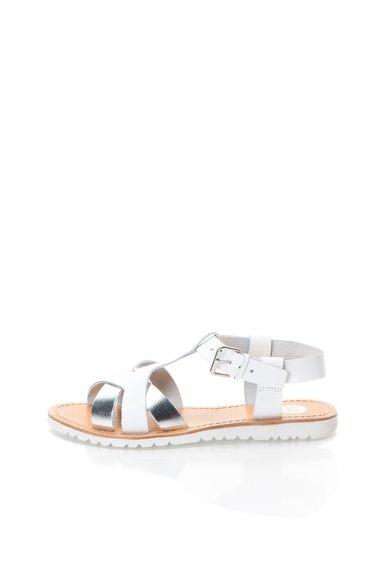Sandale alb cu argintiu din piele cu barete incrucisate Blache