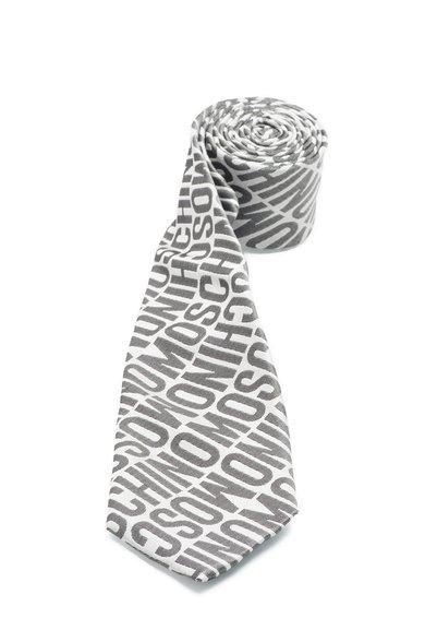 Cravata gri din matase cu model text de la Moschino