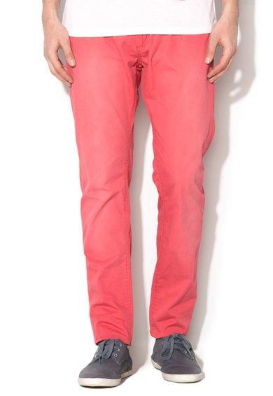 Pantaloni chino slim fit rosu stins cu o curea Jimmy