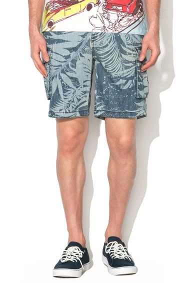 Desigual Pantaloni scurti cargo albastri cu imprimeu