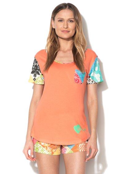 FashionDays.ro: Tricou corai de casa cu garnituri multicolore Bolimania Desigual living
