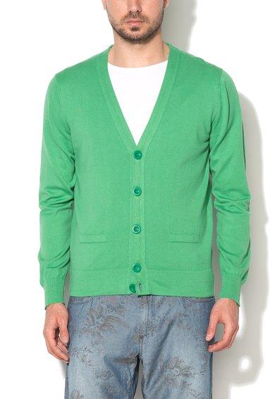 Cardigan verde din jerseu