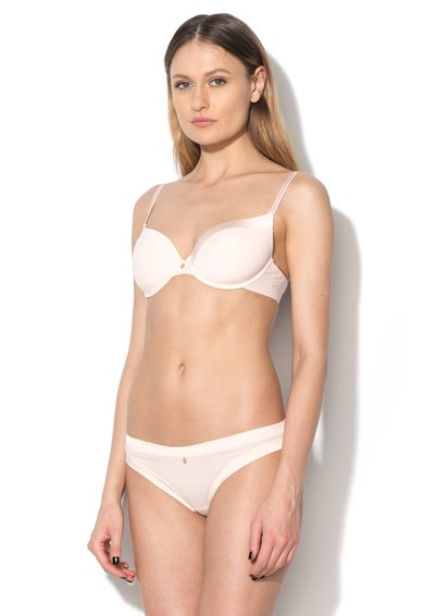 Sutien roz pal cu burete Cotton Lovers de la Skiny