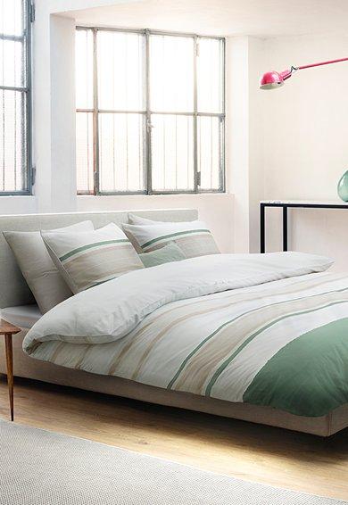 Marc OPolo Set de pat alb cu bej in dungi Etta