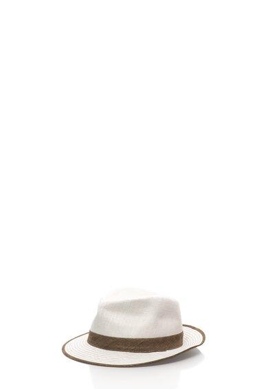 Bojua Palarie alb murdar cu maro ciocolatiu de in
