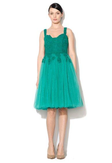 NISSA Rochie eleganta verde smarald din dantela si tul