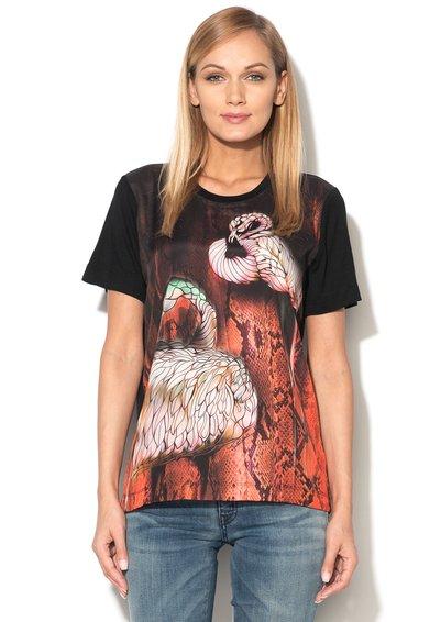 FashionDays.ro: Bluza neagra lejera cu imprimeu sarpe Just Cavalli