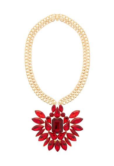 Colier auriu cu pandantiv rosu de la M by Maiocci