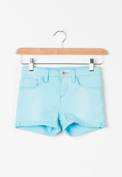 Pantaloni scurti albastru aqua elastici cu terminatii rasucite de la GUESS JEANS