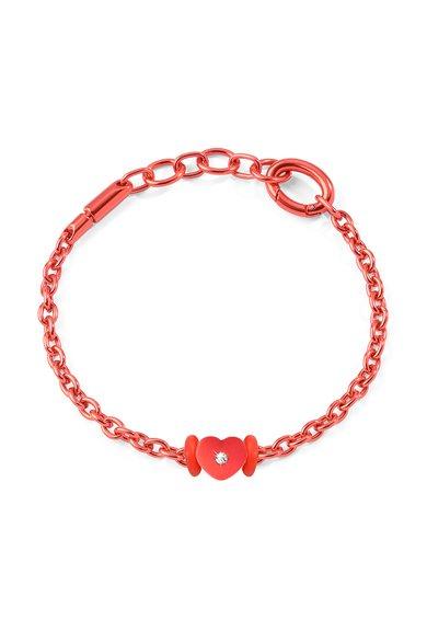 Bratara rosie din lant cu pandantiv in forma de inima Morellato