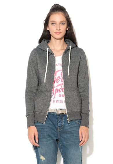 FashionDays.ro: Bluza sport gri inchis melange cu fermoar Luxe Edition Superdry