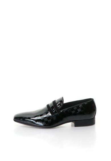 Pantofi loafer negri de piele lacuita de la Zee Lane