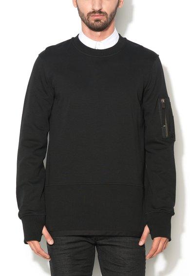 Bluza sport neagra cu terminatie striata Storney de la Diesel Black Gold