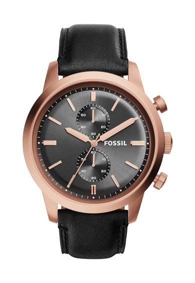 FashionDays.ro: Ceas cronograf negru cu o curea de piele Townsman Fossil