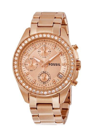 Fossil Ceas cronograf auriu decorat cu cristale Decker