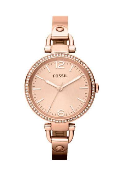 Ceas auriu rose cu cristale Georgia de la Fossil
