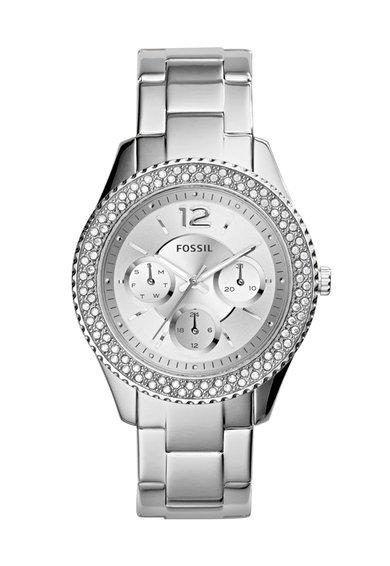 FashionDays.ro: Ceas argintiu cu cristale si functii multiple Stella Fossil