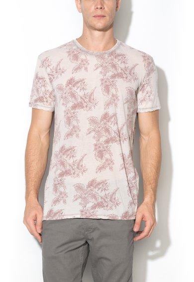 Tricou gri perlat cu rose prafuit cu imprimeu cu frunze de la Alcott