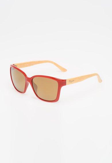Salvatore Ferragamo Ochelari de soare rosu cu galben cu lentile oglinda