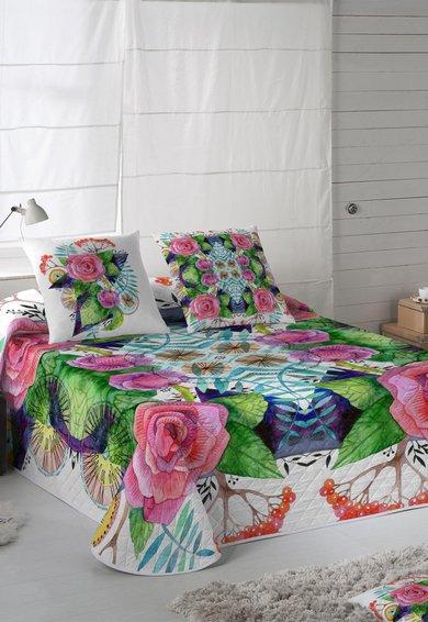 Naturals Cuvertura de pat multicolora cu imprimeu floral Eleonor