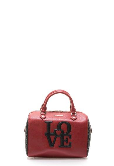 Geanta bowler rosu cu negru cu aspect texturat si logo de la Love Moschino