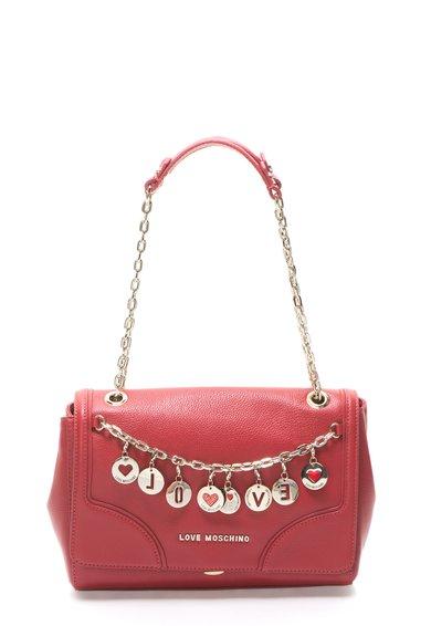 Geanta rosie de piele cu pandantive aurii detasabile de la Love Moschino