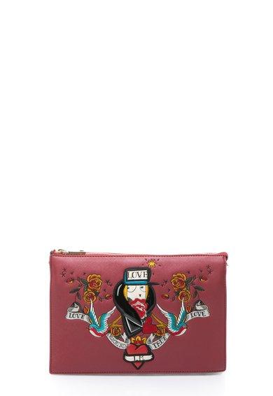 FashionDays.ro: Geanta crossbody rosu cu negru cu decoratiuni Love Moschino