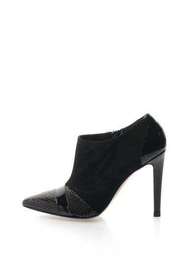 Botine stiletto negre cu insertii de piele intoarsa de la Roberto Botella