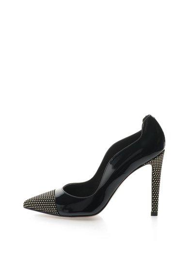 Pantofi stiletto negri cu insertii de piele lacuita de la Roberto Botella