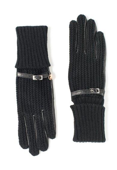 Manusi negre din material tricotat si piele de la Trussardi Jeans