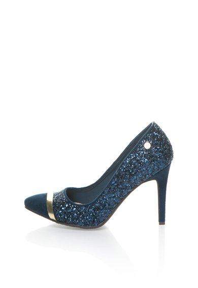 Pantofi stiletto albastru petrol cu particule stralucitoare de la XTI