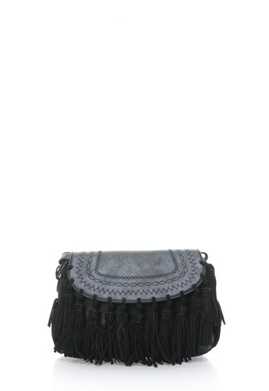 Geanta neagra cu canafi de piele intoarsa Ore de la Pepe Jeans London