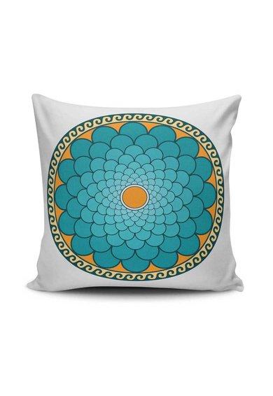 Husa alba pentru perna decorativa cu imprimeu Mandala de la Leunelle