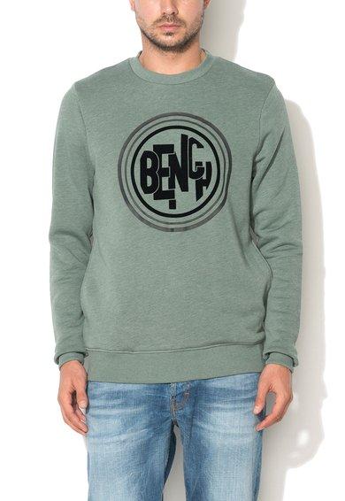 FashionDays.ro: Bluza sport verde marin cu logo in relief Rest Bench