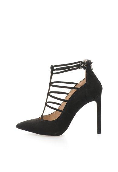 Pantofi negri de piele nabuc cu toc inalt Prazed de la Steve Madden
