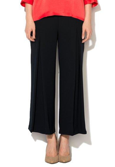 Pantaloni crop negri cu croiala lejera si detalii plisate de la Ipekyol