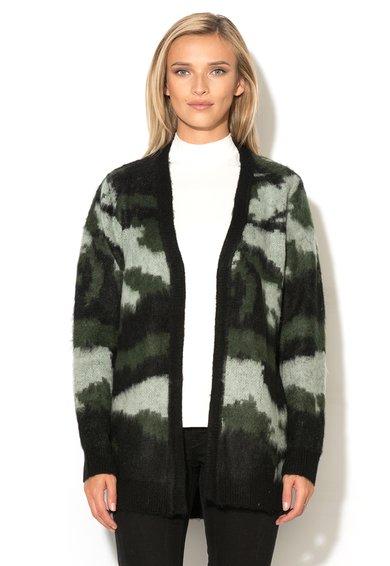 Cardigan lung verde militar cu negru cu model camuflaj Nuria de la ICHI