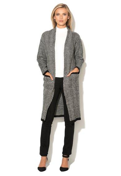 Cardigan lung negru cu alb cu model in zigzag Mimmi de la b.young